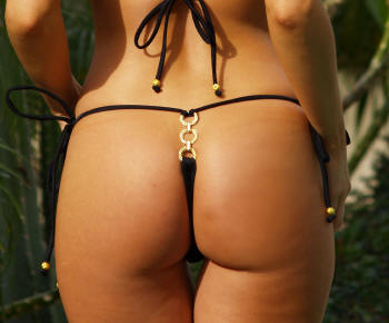 gold ring bootie bling g-string bikini swimsuit bottom
