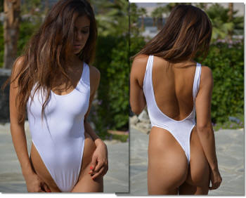 St Raphael one piece thong bathing suit for women in white by Brigitewear