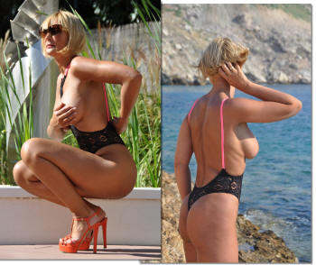Crochet topless one piece thong swimsuit by brigitewear in black and pink